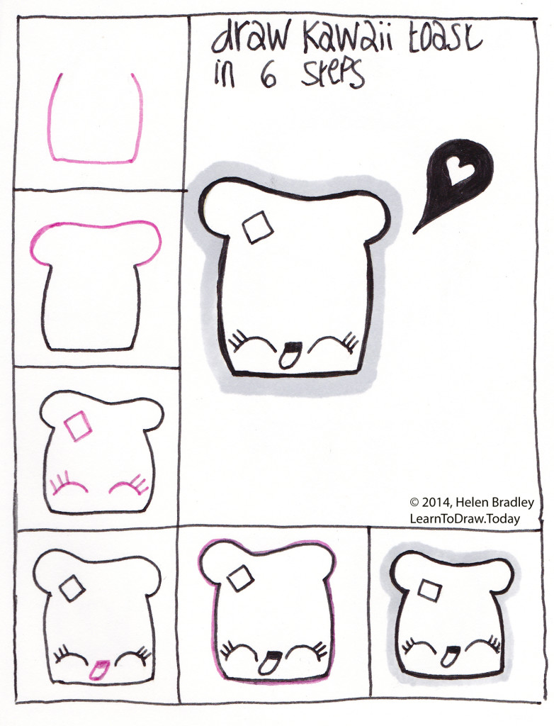 Learn to draw a kawaii toast in 6 steps learn to draw for How to draw easy stuff but cute