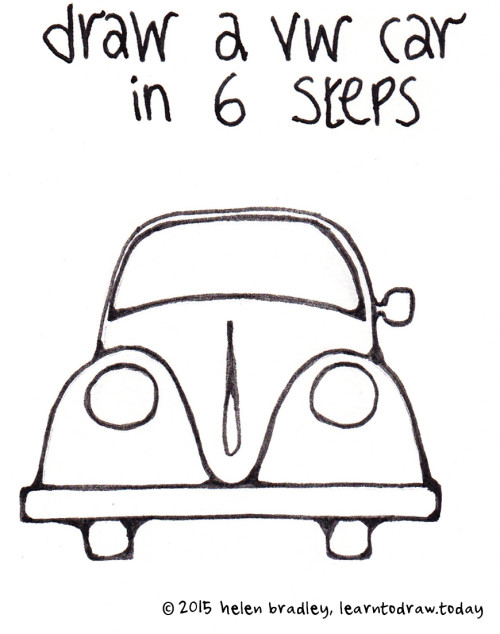 learn to draw a vw car in 6 steps
