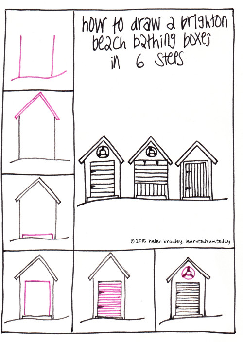 Learn to draw brighton beach boxes in 6 steps learn to draw beach boxes how to draw altavistaventures Gallery