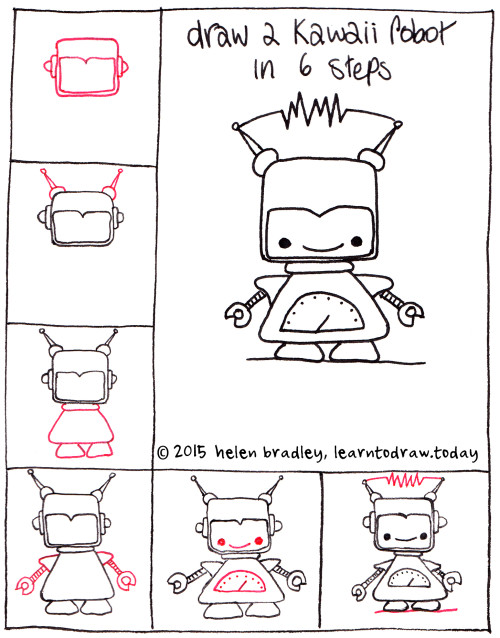 learn to draw a kawaii robot in 6 steps   learn to draw