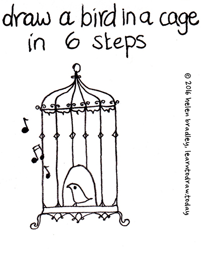 how to draw a bird in a cage