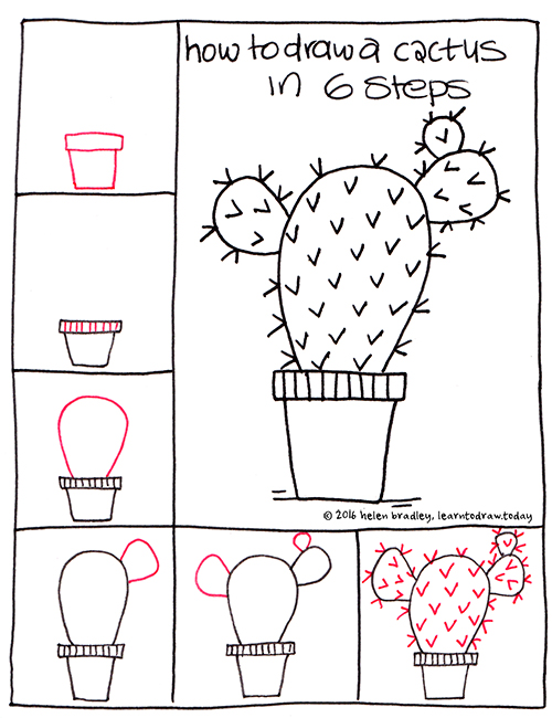 Learn To Draw A Cactus In 6 Steps Learn To Draw