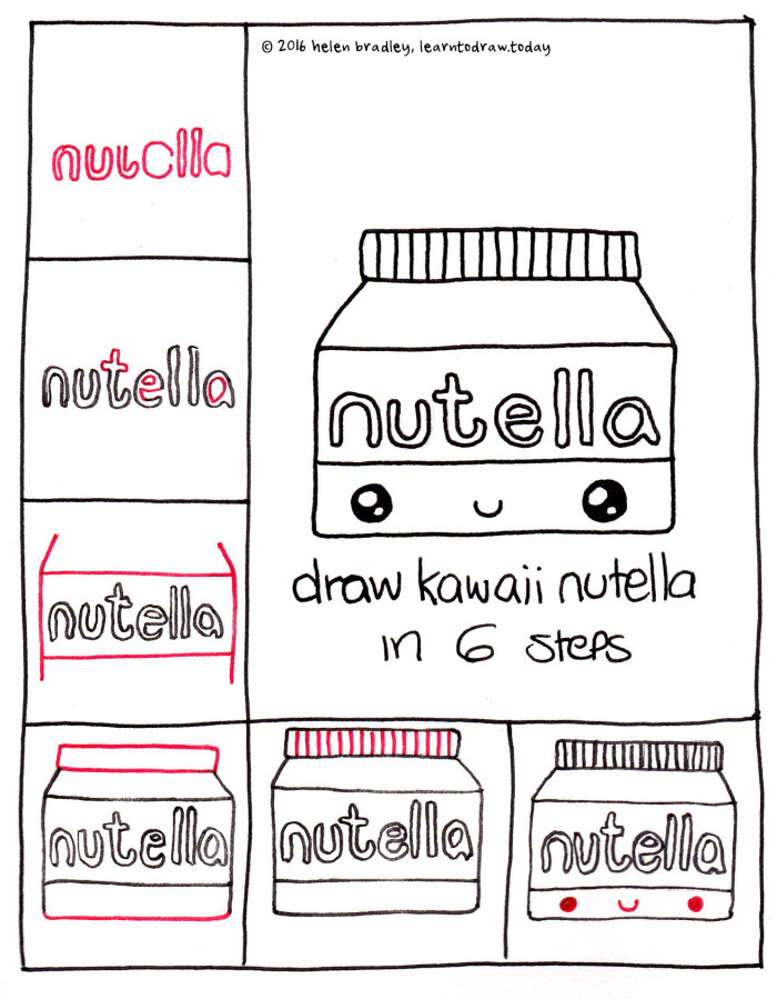 Learn To Draw A Kawaii Jar Of Nutella In 6 Steps Learn To Draw