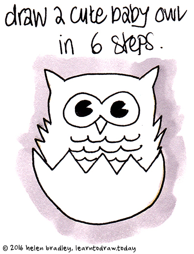 How to draw a cute baby owl - photo#5