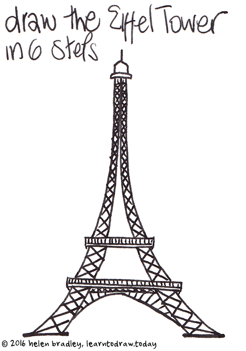 Learn to draw the eiffel tower in 6 steps