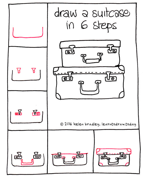 Learn To Draw A Suitcases In 6 Steps