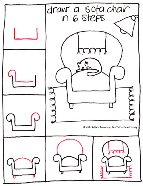 Learn to draw a sofa chair in 6 steps learn to draw for Things to draw for beginners step by step