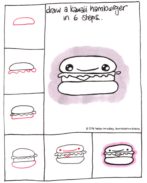 Learn To Draw A Kawaii Hamburger In 6 Steps Learn To Draw