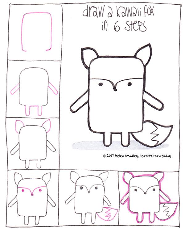 Draw A Kawaii Fox In 6 Steps Learn To Draw