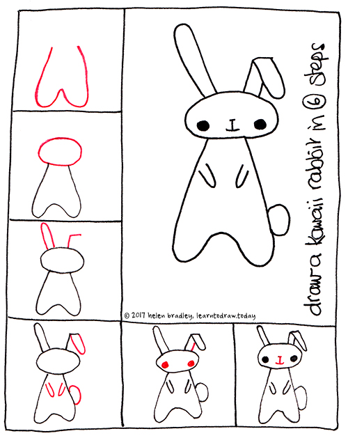 Learn To Draw A Kawaii Bunny In 6 Steps Learn To Draw