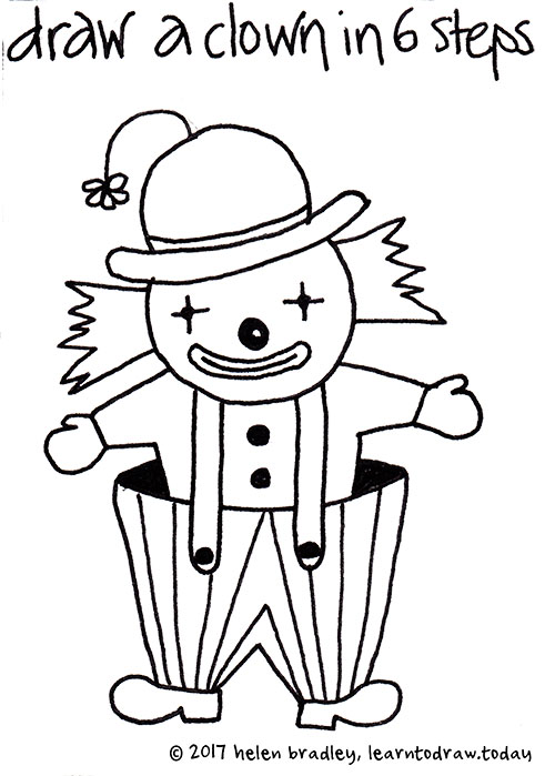 how to draw a cute clown in six steps learn to draw