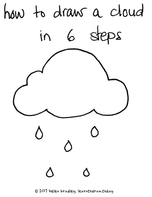 how to draw a cloud in six steps