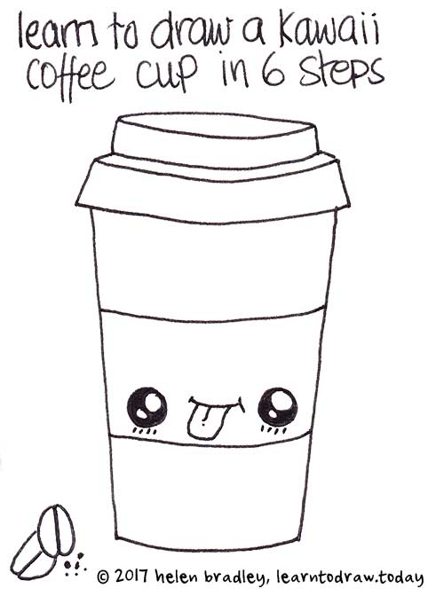 Learn to draw Kawaii Coffe in  6 simple steps