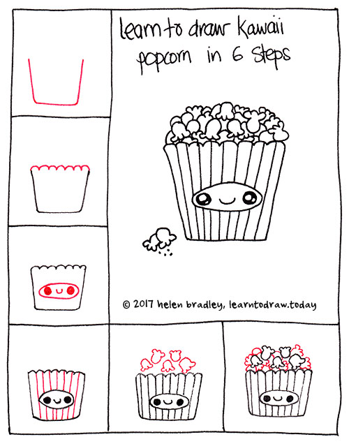 How to draw kawaii popcorn 6 simple steps