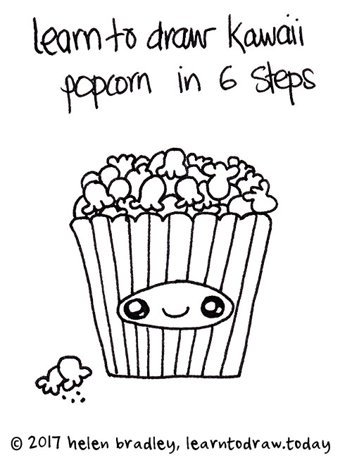 Learn to draw Cute Popcorn in six steps