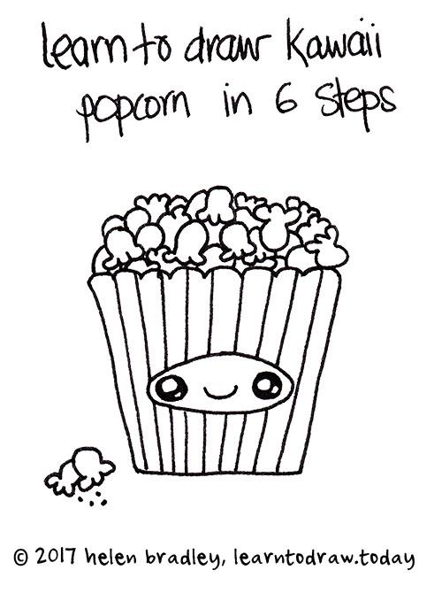 Learn to draw Cute Popcorn in six steps