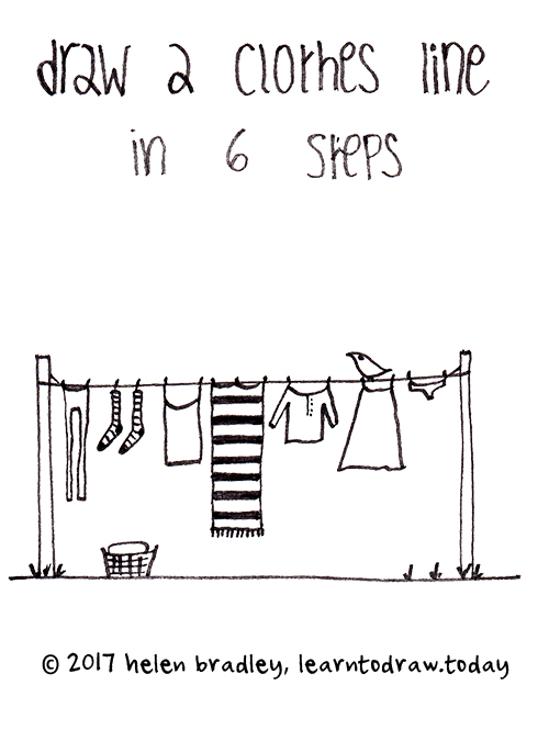 Draw a cute simple clothes line