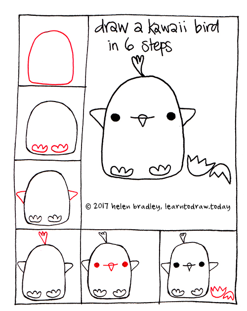 Draw a kawaii baby bird in 6 easy steps learn to draw for What to draw today