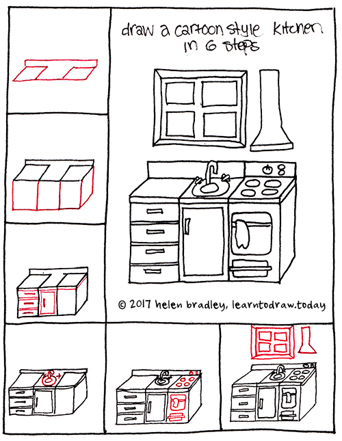 How To Draw A Cartoon Kitchen In 6 Steps Learn To Draw