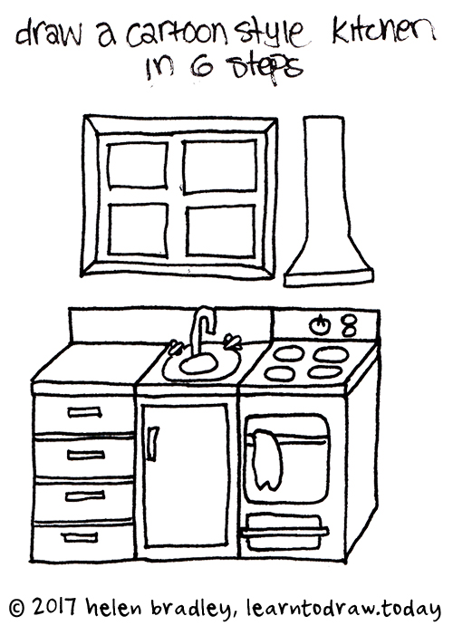 Draw A Cartoon Kitchen In Few Steps
