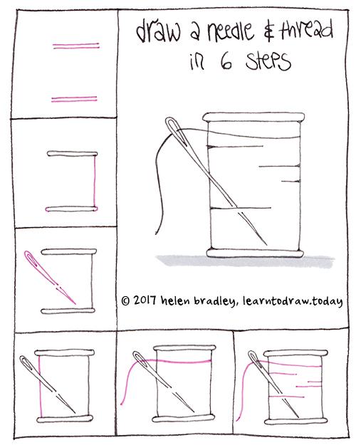 draw cartoon needle and thread