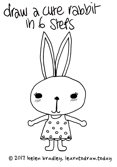 learn to draw a bunny in a dress