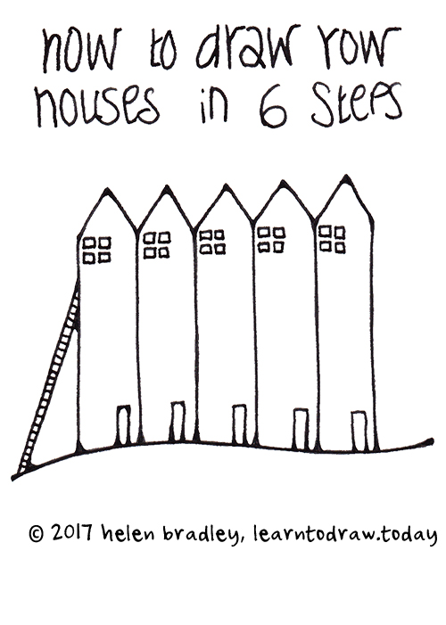 how to draw a tall houses in a row easy and simple