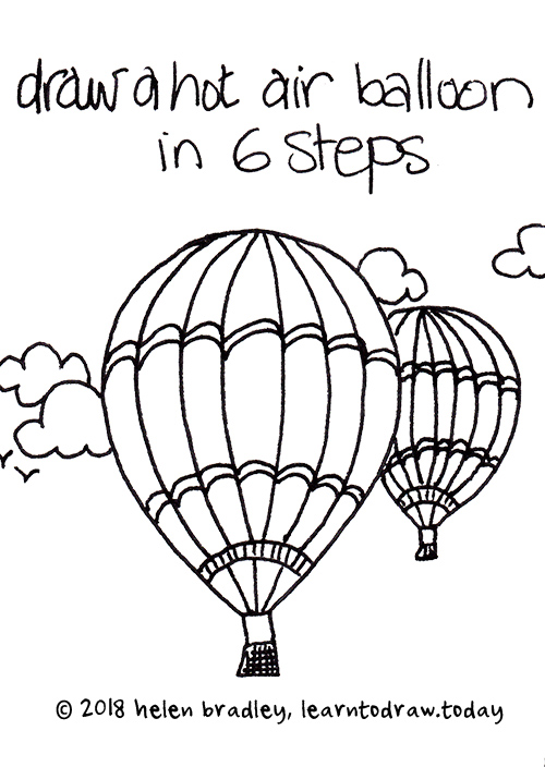 how to draw a hot air balloon in 6 steps