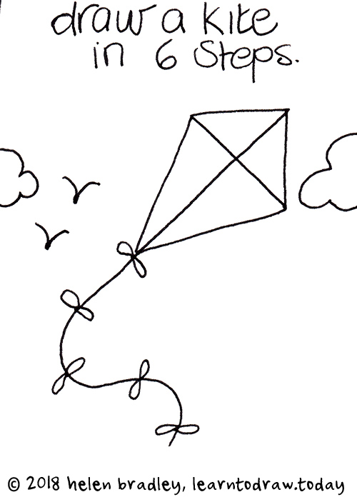 How To Draw A Flying Kite In Six Steps Learn To Draw