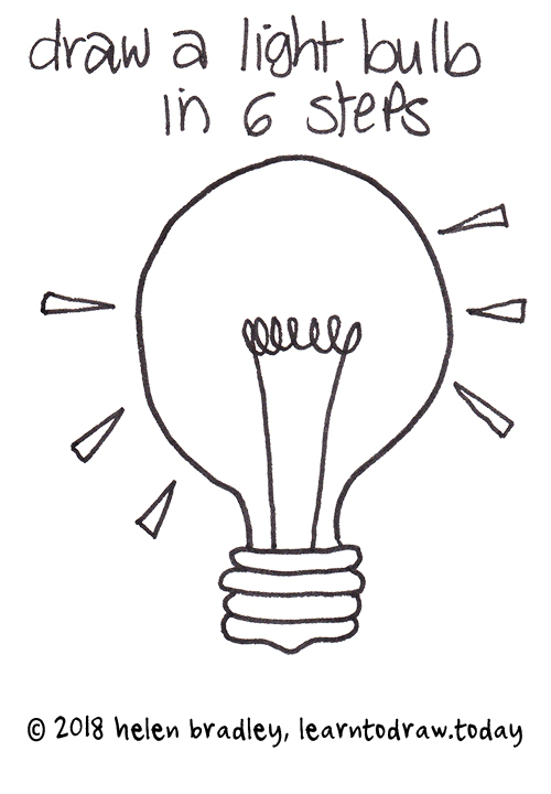 Easy Simple Light Bulb Drawing
