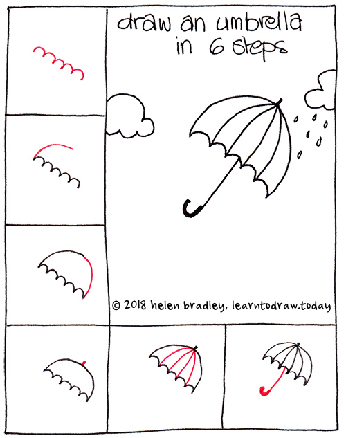 Learn to draw an umbrella in a few steps