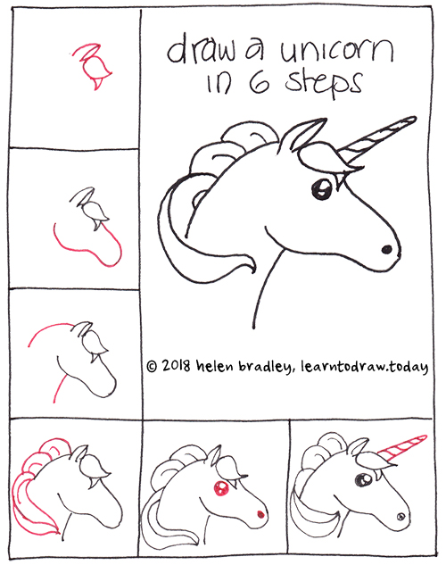 how to draw a unicorn in 6 steps learn to draw. Black Bedroom Furniture Sets. Home Design Ideas