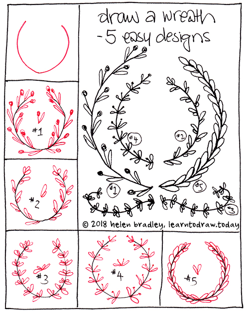 five wreaths learn to draw