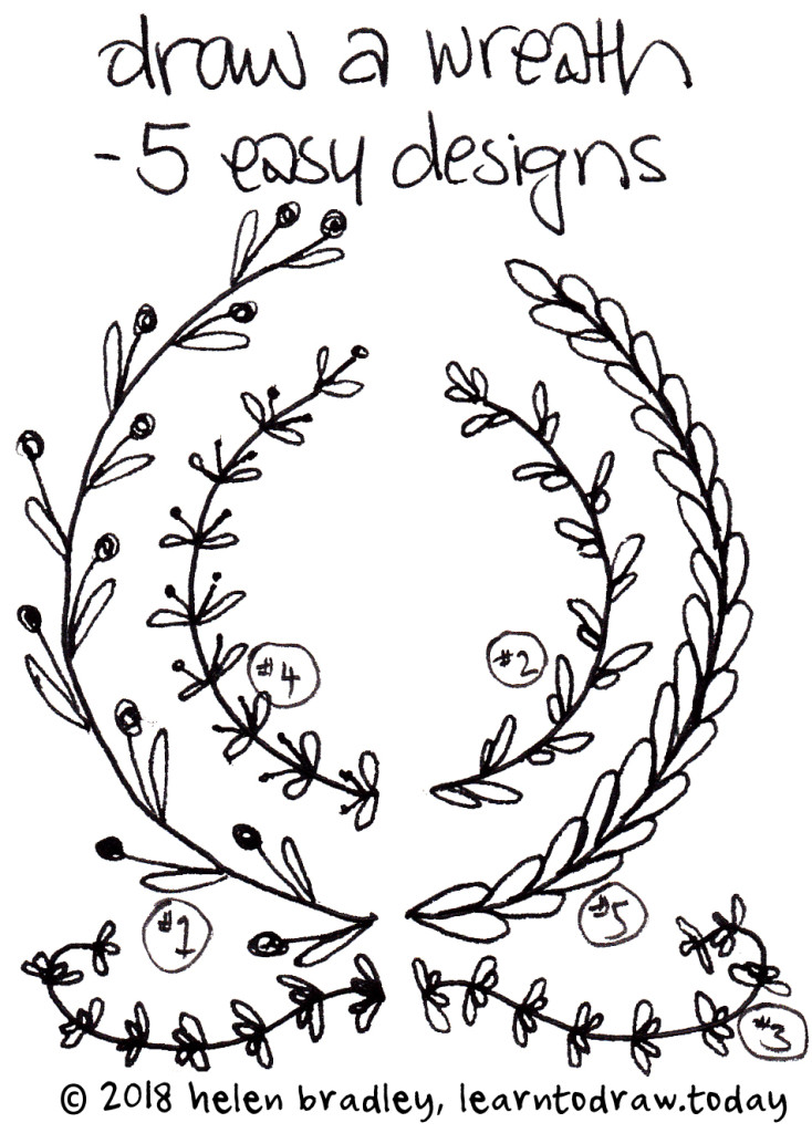 Draw a wreath in five ways