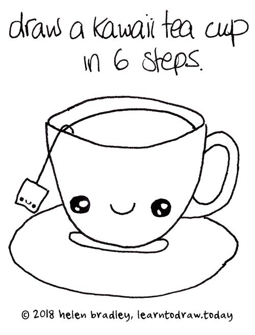 Kawaii Tea Cup Drawing