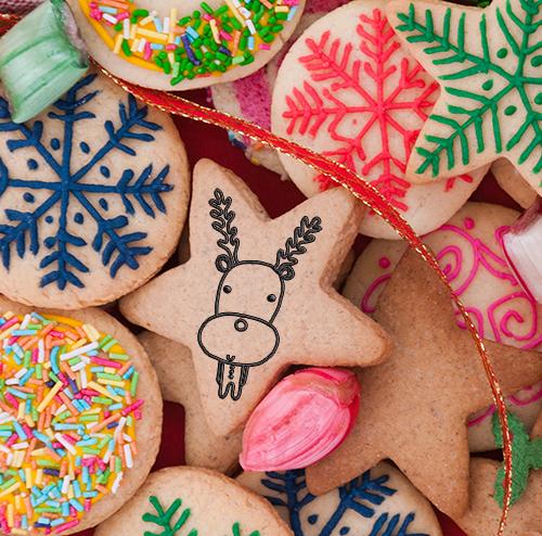 xmas reindeer on cookie