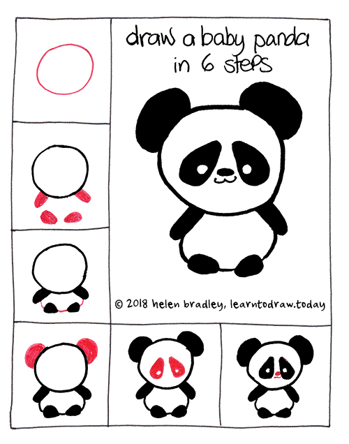 Learn To Draw A Cute Baby Panda In Six Steps Learn To Draw