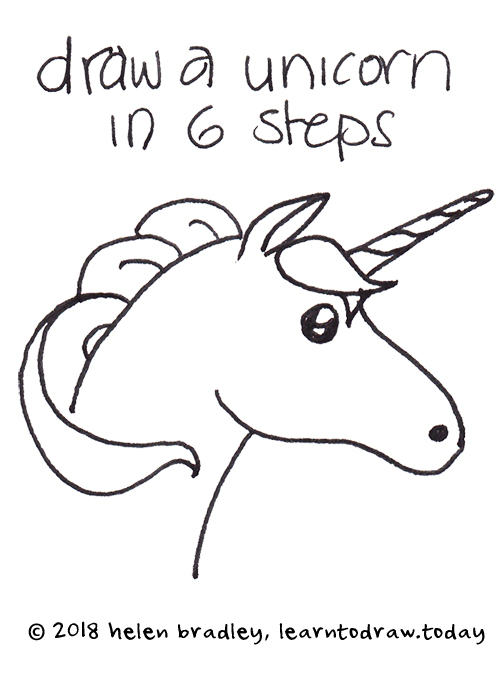 Learn To Draw A Unicorn In Six Step