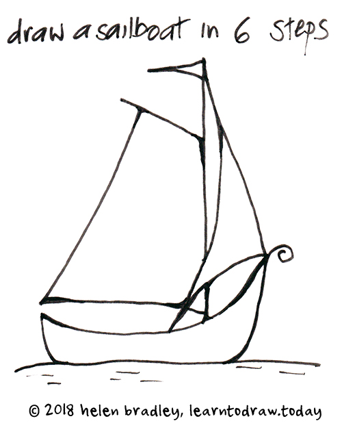 How To Draw A Sail Boat In 6 Steps Learn To Draw